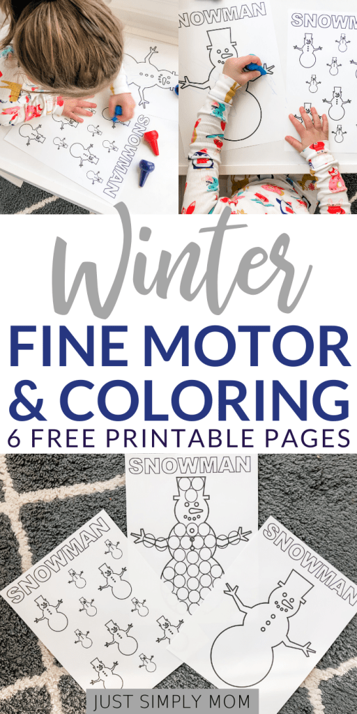 Simple winter coloring and fine motor printable sheets for toddlers to learn colors, counting, and letters of the alphabet. Download these free pages today!