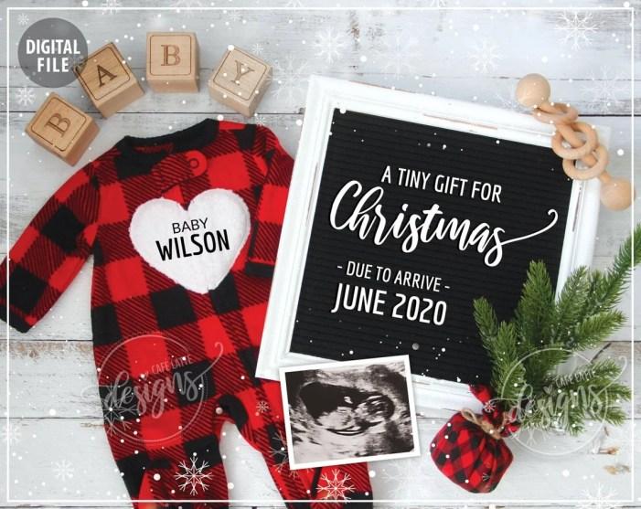 christmas pregnancy announcement flat lay