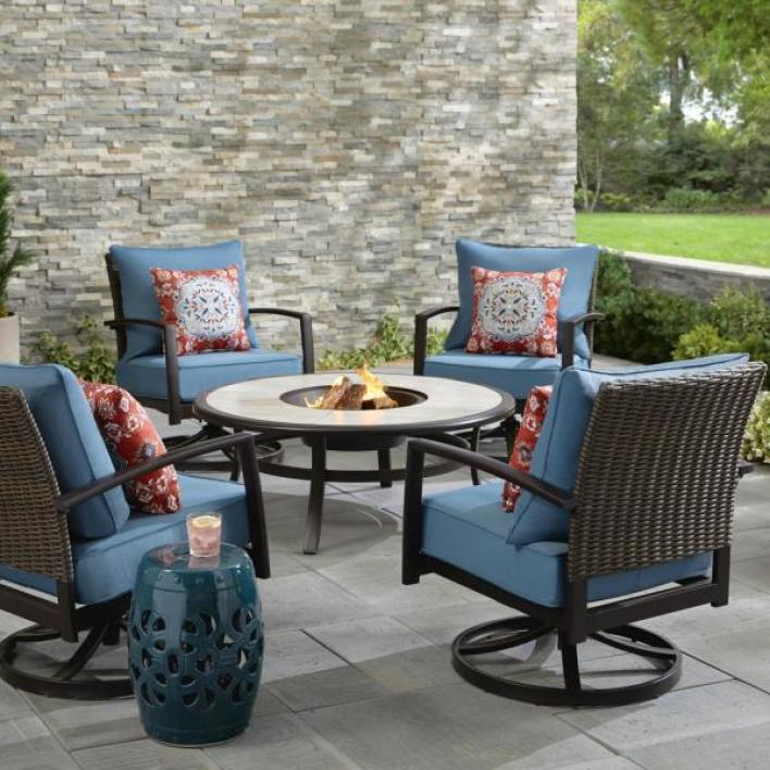 New Patio Furniture At Home Depot Whitfield 5-Piece Dark Brown Metal Patio Round Fire Pit Seating Set w/ Steel  Blue Cushions - Just Slashed