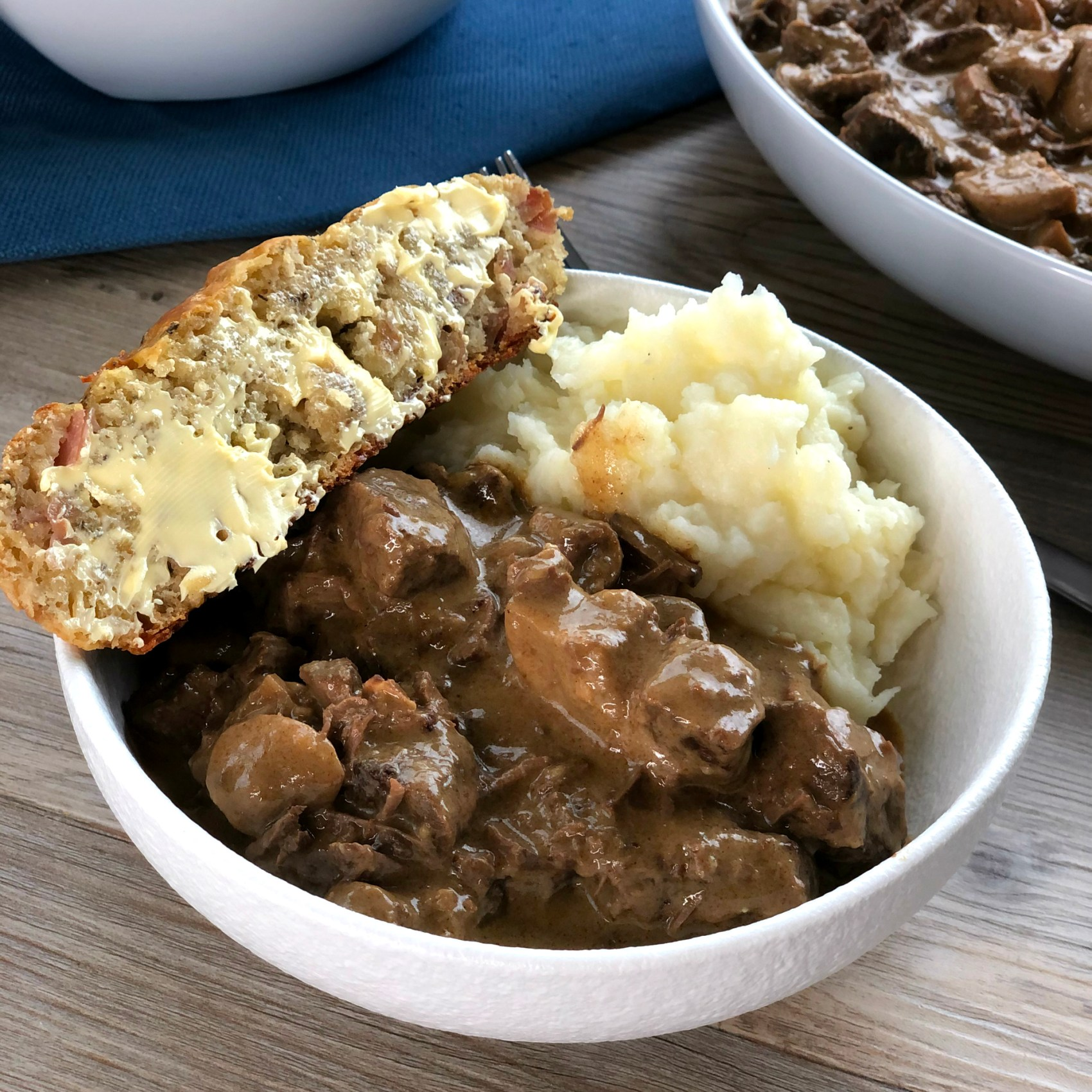 Just Slow Cooker Recipes Beef Stroganoff with Cheesy Savoury Loaf