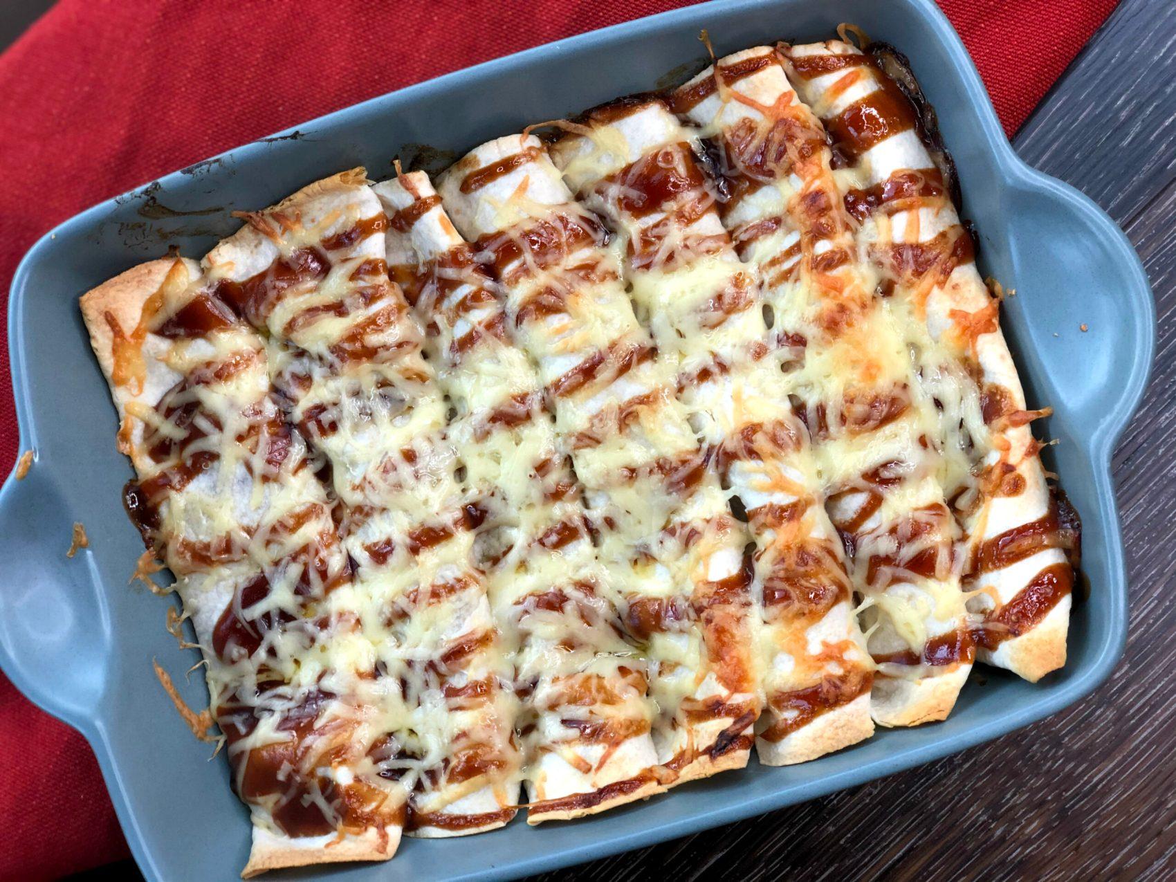 BBQ Pulled Pork Chicken Enchiladas