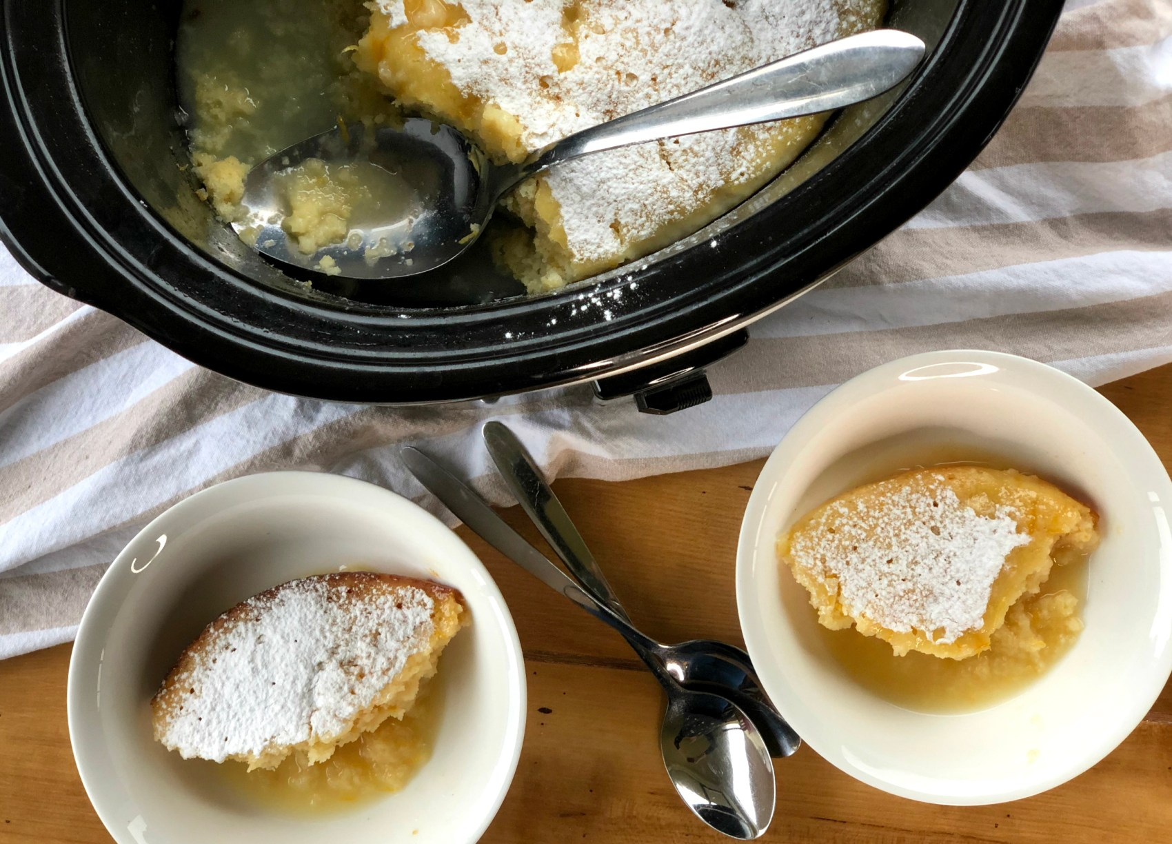 Two scoops of lemon dessert and the slow cooker