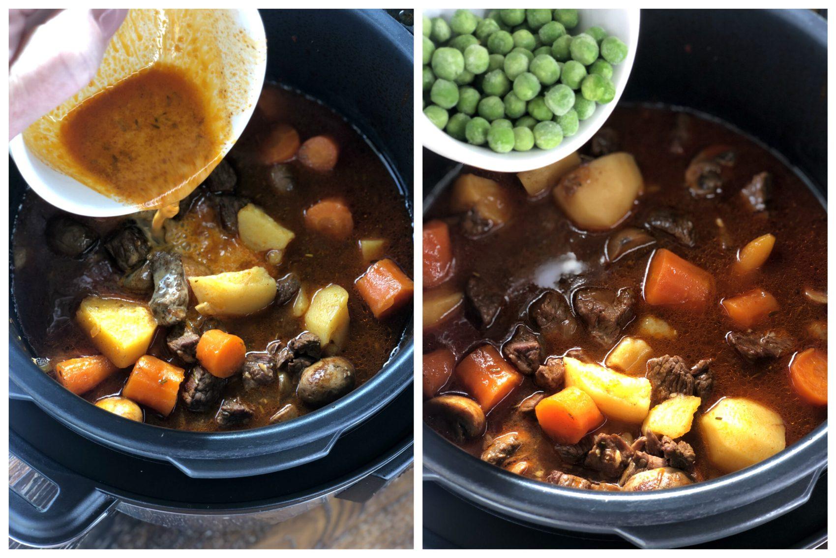 Cornflour Slurry and Peas to thicken stew