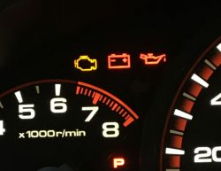 "Image of instrument cluster including ""Check Engine"" light"