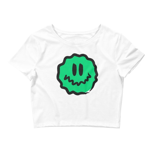 green antsy face white croptop