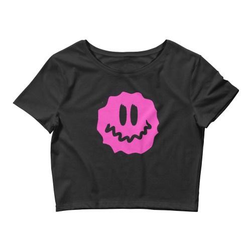 pink antsyface crop tee black