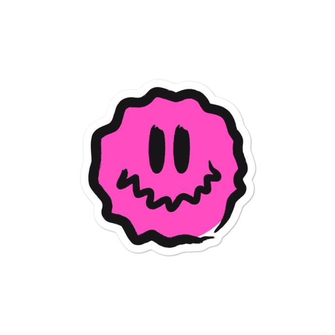 pink antsyface sticker - 3x3