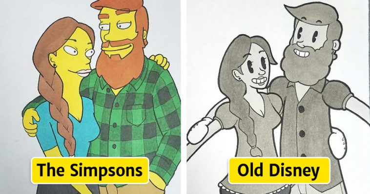 Cute Old Couple Cartoon Pictures