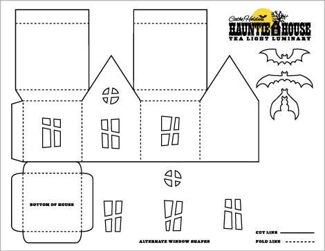 halloween crafts: haunted house luminary & party treat box