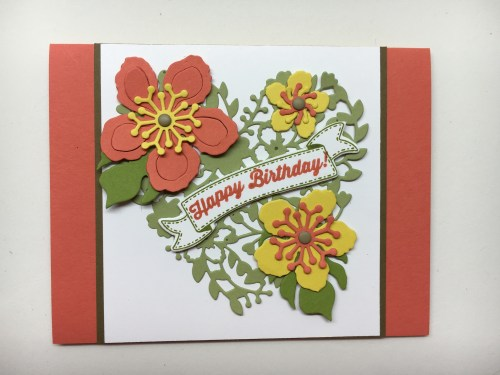 Stampin Up Birthday card idea using Bloomin Heart THinlints, Botanical Builder Framelits, Bunch of Banners Framlelits - Jeanie Stark StampinUp