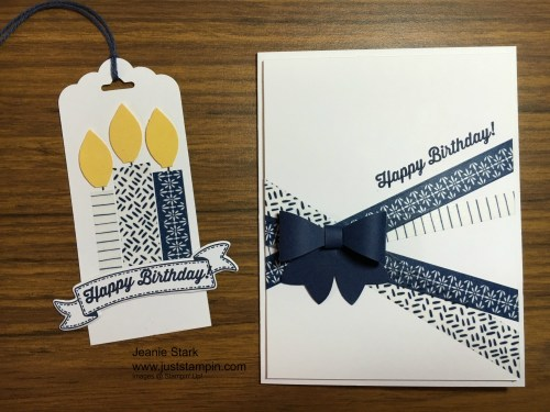 Stampin Up birthday card and tag idea using washi tape - Jeanie Stark StampinUp