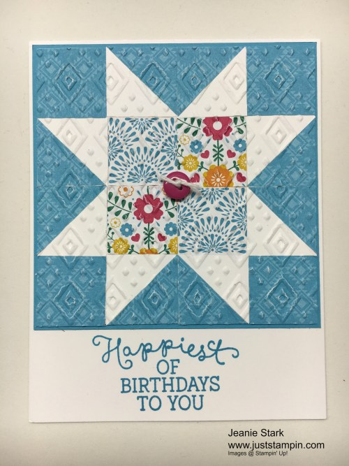 Stampin Up Birthday Blooms Quilt card idea - Jeanie Stark StampinU
