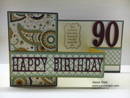 Stampin Up Party Pop Up Thinlits and Large Number Dies 90th Birthday Fun Fold Card Idea - Jeanie Stark StampinUp