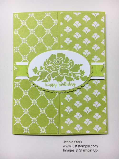 Stampin Up Fresh Florals and Floral Phrases Happy Birthday Gate Fold card idea - Jeanie Stark StampinUp