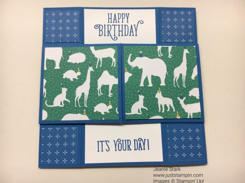 Stampin Up Never Ending Fun Fold Card using Number of Years Stamp Set, Large Number Thinlits Dies, and Party Animal Designer Series Paper. For more Fun Fold Cards, directions, and to order supplies, visit my website www.juststampin.com.