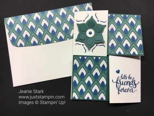 Stampin Up Quarter Fun Fold made with Eastern Palace Suite. For more fun fold ideas, directions, and supplies, visit www.juststampin.com