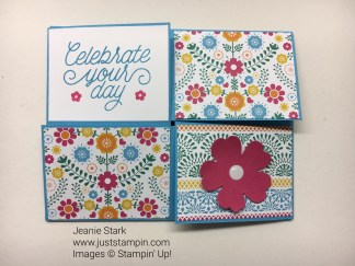 Stampin Up Fun Fold card using Festive Birthday Designer Series Paper and Designer Tin of Cards Stamp Set.. For more fun fold cards, directions, and supplies visit www.juststampin.com