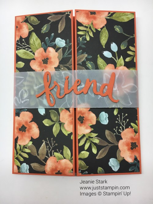 Stampin Up Lovely Words Thinlits gatefold card idea for a friend - Jeanie Stark StampinUp