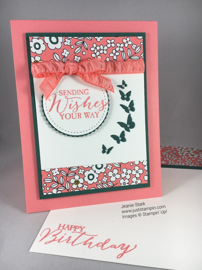 Stampin Up birthday card using Butterfly Wishes stamp set.Timeless Tags Thinlits Dies, and Pick A Pattern Designer Series Paper. Find more card inspiration at www.juststampin.com
