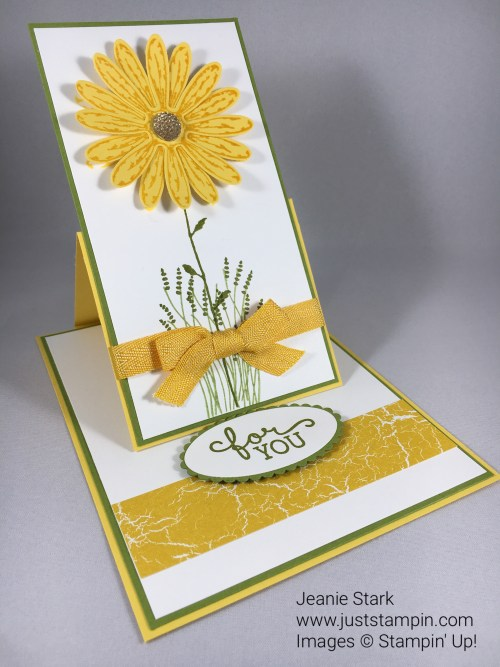 Stampin Up Daisy Delight fun fold easel card. For lots of fun fold card inspiration check out my ABC Fun Folds at www.juststampin.com.