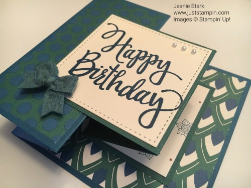 Fun fold birthday card using Eastern Palace Designer Series Paper and Stylized Birthday Stamp Set from Stampin Up. For inspiration, directions, and products visit my blog www.juststampin.com.
