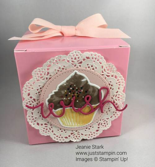 Stampin Up Sweet Cupcake Stamp Set and coordinating Cupcake Cutouts Framelits were used to decorate this cupcake box. For ideas and Stampin' Up! supplies visit www.juststampin.com