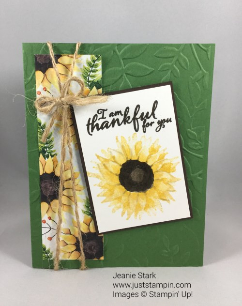 Stampin Up sunflower made with Painted Harvest Stamp Set and Layered Leaves Embossing Folder. For inspiration, directions, and more visit www.juststampin.com