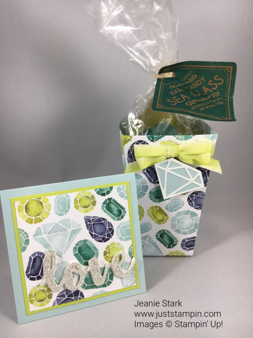 Stampin Up 3 x 3 note card and treat holder using Naturally Eclectic Designer Series Paper, Popcorn Box Thinlits, Eclectic Layers Thinlits, and Sunshine Wishes Thinlits Dies. For directions and ordering visit www.juststampin.com