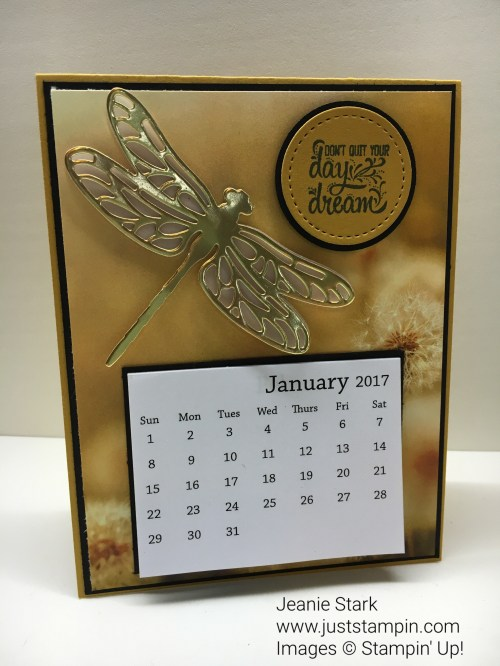 Stampin Up Detailed Dragonfly Thinlits calendar card ideas - Jeanie Stark StampinUp