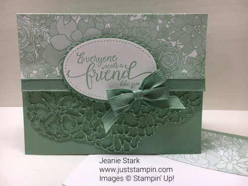 Stampin Up Suite Sentiments and So Detailed Thinlits DIes friend thank you card idea- Jeanie Stark StampinUp