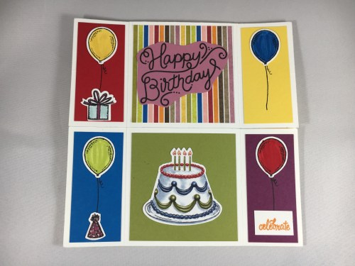 Never Ending Fun Fold card using Stampin Up Birthday Friends Framelits, Birthday Delivery Stamp Set, Birthday Memories Designer Series Paper, and Stitched Shapes Framelits. For fun fold card ideas, directions, and more visit www.juststampin.com.