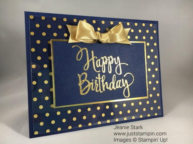 Stampin Up Stylized Birthday card idea using Fabulous Foil Acetate - Jeanie Stark StampinUp