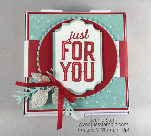 Stampin Up Merry Little Labels gift box idea using Everyday Label Punch, Leaf Punch, Pretty Pines Thinlits, Layering Circles and a pizza box. Jeanie Stark StampinUp