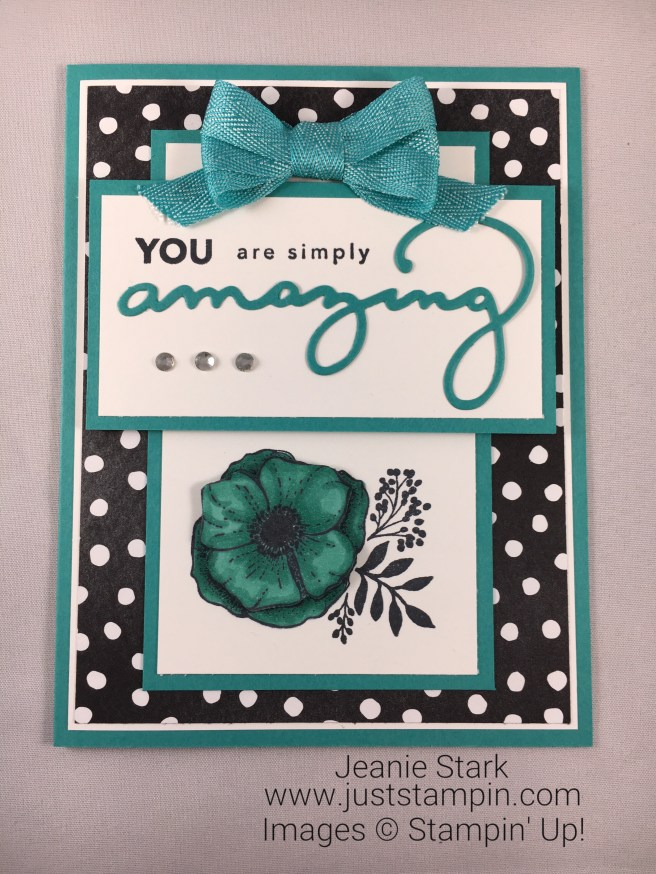 Stampin Up Amazing You stamp set and Celebrate You Thinlits card idea using Stampin' Blends - Jeanie Stark StampinUp
