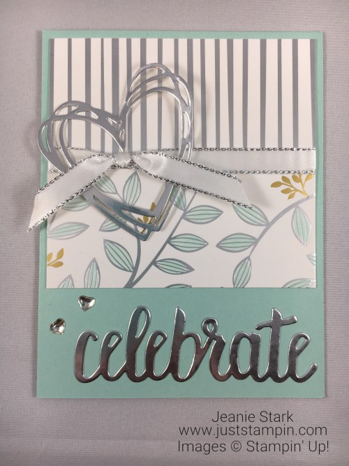Stampin Up Celebrate You Thinlits and Springtime Foils Specialty Designer Series Paper Wedding or Anniversary card idea - Jeanie Stark StampinUp