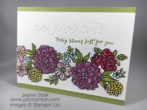 Stampin Up Perennial Birthday Stamp Set and Petal Pair birthday or all occasion card idea using Stampin Blends coloring technique - Jeanie Stark StampinUp