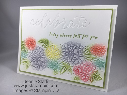 Stampin Up Perennial Birthday Stamp Set and Petal Pair birthday or all occasion card idea using sponging technique - Jeanie Stark StampinUp