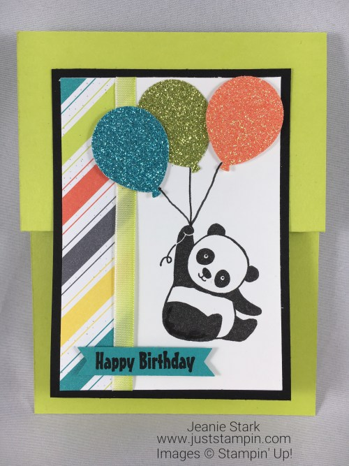 Stampin Up Party Pandas Double Z Fun Fold birthday card idea with Glimmer Paper and Bubbles & Fizz DSP - Jeanie Stark StampinUp