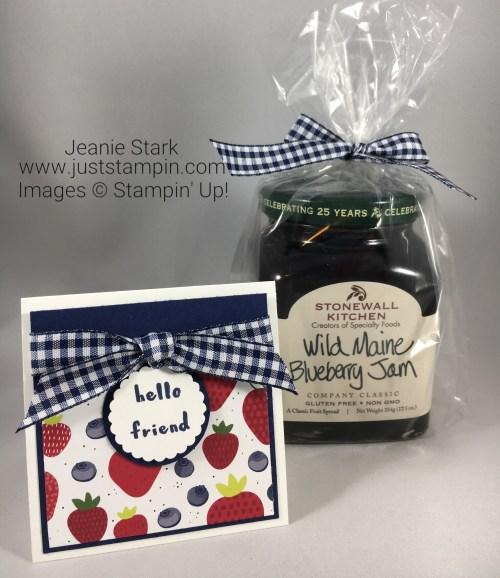 Stampin Up Tutti-frutti hello friend 3 x 3 note card idea - Jeanie Stark StampinUp