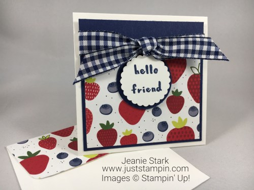Stampin Up Tutti-frutti hello friend note card idea - Jeanie Stark StampinUp