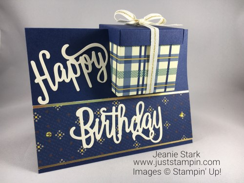 Stampin Up Happy Birthday Thinlits and True Gentleman masculine birthday card and gift box idea - Jeanie Stark StampinUp