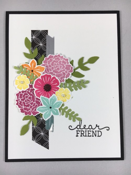 Stampin Up Birthday Blooms and Bouquet Bunch friend card idea - for inspiration, ordering and more, visit www.juststampin.com  Jeanie Stark  StampinUp