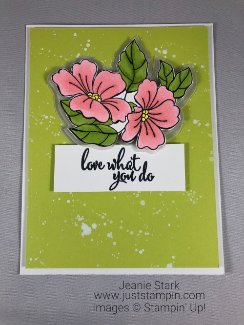 Stampin Up Blended Seasons and Love What You Do floral card idea colored with Stampin Blends - Jeanie Stark StampinUp