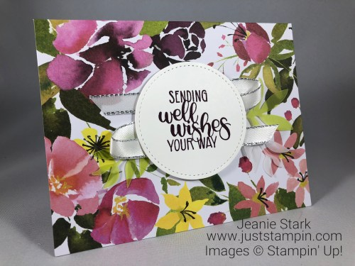 Stampin Up Dandelion Wishes get well card idea using the August 2018 Paper Pumpkin Blissful Blooms kit - Jeanie Stark StampinUp