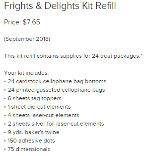 Frights & Delights Refill kit supplies