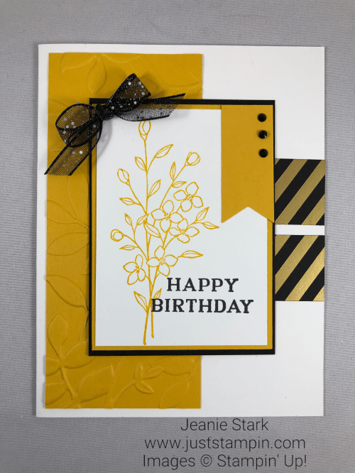 Stampin Up Touches of Texture and Perennial Birthday embossed Birthday card idea - Jeanie Stark StampinUp