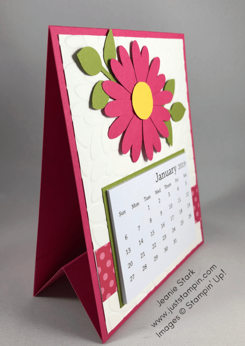 Stampin Up daisy punch and leaf punch calendar card idea - Jeanie Stark Stampin Up