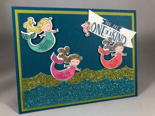 Stampin Up Mermaid card idea - For more inspiration visit www.juststampin.com Jeanie Stark StampinUp