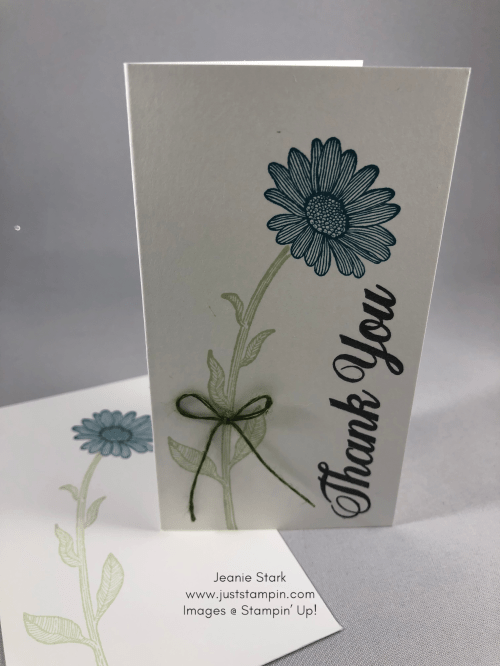 Stampin' Up! Daisy Lane Pretty Peacock thank you note card idea - Jeanie Stark StampinU
