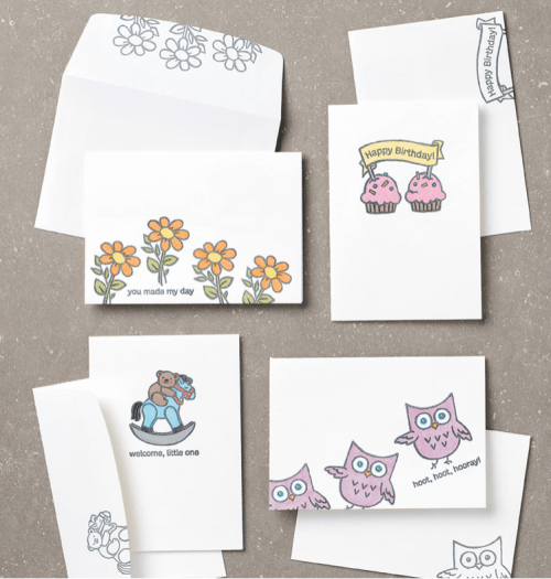 Stampin' Up! Hoot Hoot Hooray note card ideas for new baby, birthday, celebration, and more! - Jeanie Stark StampinUp